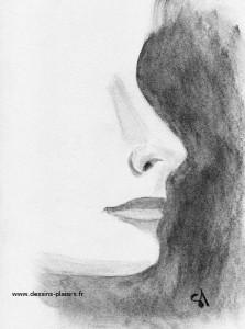 a feminine face drawing