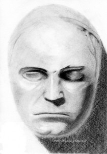 a drawing of the death mask of beethoven