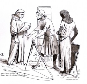 a drawing of a monk, architect