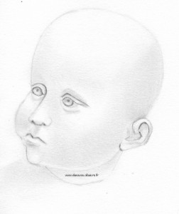 Another drawing of a head of a baby