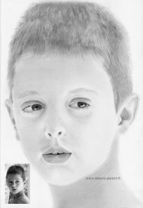 graphite pencil portrait of a children