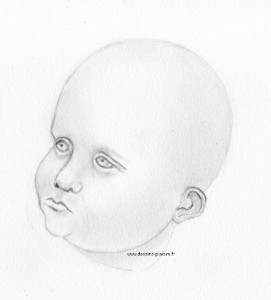 a sketch of baby's head