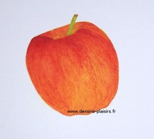 painting of an apple in gouache