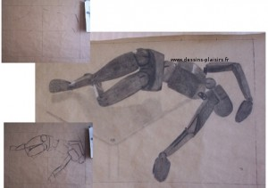 a charcoal drawing of a manikin