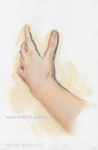 A pastel drawing of a hand