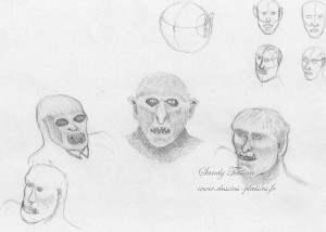 graphite pencil sketch of orc heads