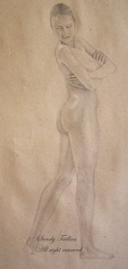 a graphite pencil drawing of a female nude